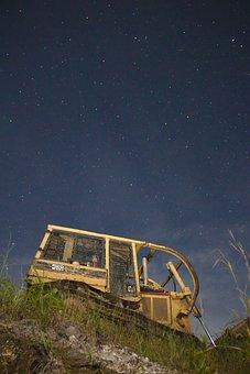 Machine, Bulldozer, Construction, Cat, Stars, Night