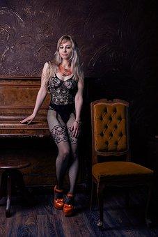 Erotica, Legs, Shoes, Stockings Grid, Heels, Naked