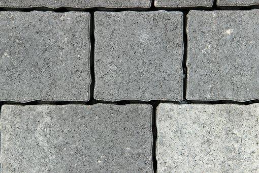 Stones, Grey, Concrete, Square, Background, Pattern