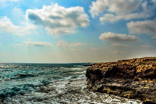 Coast, Cape, Sea, Clouds, Horizon, Waves, Nature