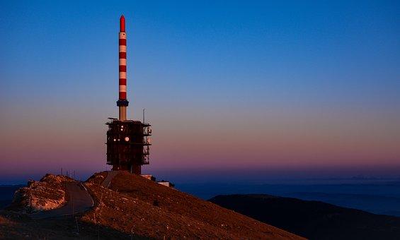 Antenna, Chasseral, Jura, Twilight, Sky, Nature