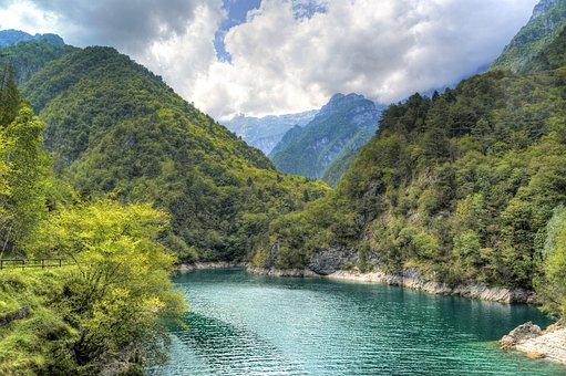 Lago Del Mis, Italy, Alps, Dolomites, Mountains