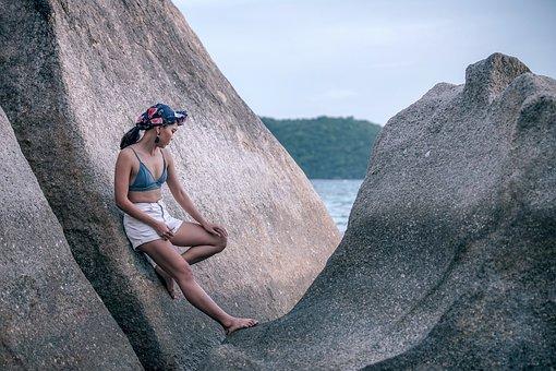 Girl, Beach, Bikini, Model, Female, Leaning, Lifestyle