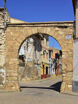 Arc, Street, Construction, Old, Stones, Longares