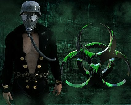 Gas Mask, Stahlhelm, Man, Background, Biohazard, Risk