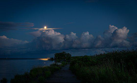 Night, Landscape, Night Landscape, Moon, Sky, Clouds