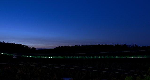 Blue Hour, Suspension Bridge, Resin, Rappbodetalsperre