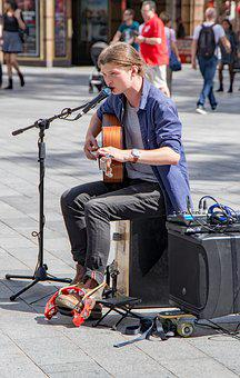 Young People, Street, Musician, Music, Man, Guitar