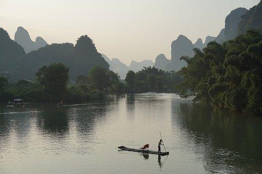 Bamboo Raft, Yulong River, Sunset