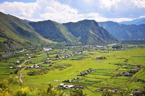 Mountains, Nature, Landscape, Mountain Altai, Village