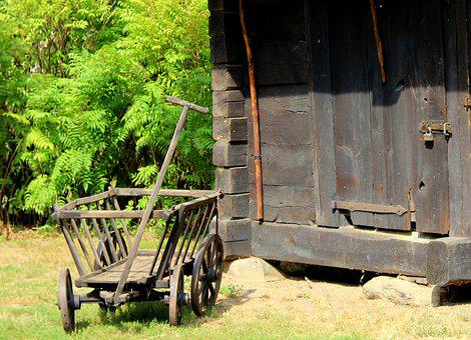 Stroller, Wooden, The Vehicle, Village, Old, Wheels