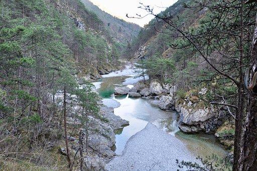 Torrent, Sassi, Rocks, Rock, Water, Mountain, Trees