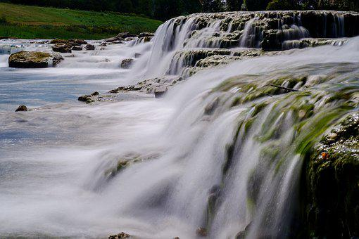 Waterfall, Water, River, Bach, Flow, Movement, Racing
