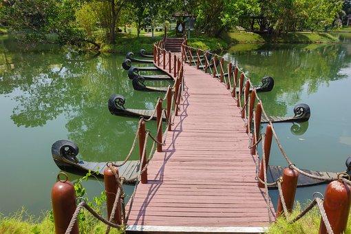 Bridge, Wooden Bridge, Greenery, Kerala Boat, Kerala