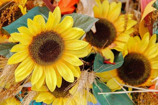 Flowers, Sunflowers, Artificial, Bouquet, Autumn, Fall