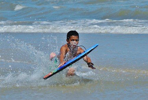 Beach, Boy, Waves, Boogie, Surf, Water, Summer, Child