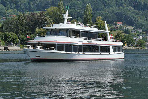 Canal Boat, Traunsee, Gmunden, Austria, More, Water