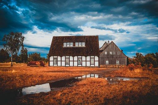 Mining, Fachwerkhaus, Freiberg, Rain, Clouds, Landscape