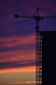Construction, Crane, Sunset, Sky, Bright, Paint, City