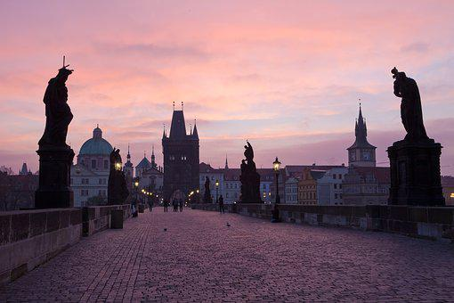 Prague, Czech Republic, Charles Bridge, Dawn, Tourism