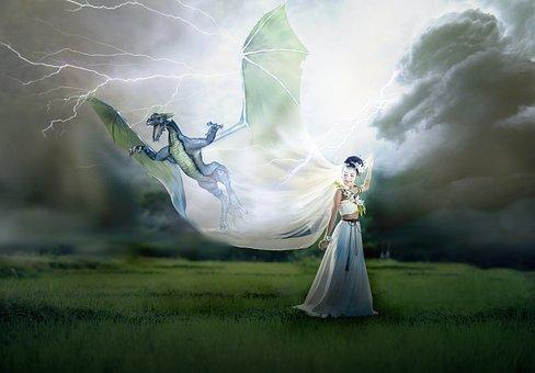 Dragon, Fantasy, Bride, Storm, Lightning, Woman