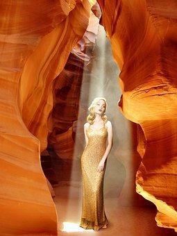 Woman, Dress, Long, Gold, Canyon, Antelope, Arizona