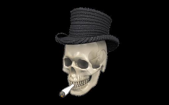 Skull, Joint, Hat, Stoner, Drugs, Smoke Pot, Bag