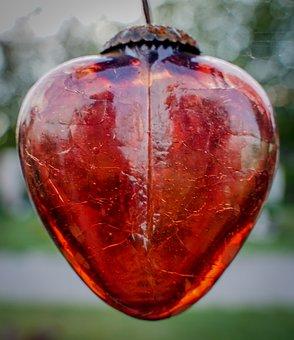 Heart, Red Heart, Glass Heart, Decoration, Love