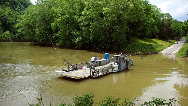 Green River Ferry, Green, River, Water, Landscape