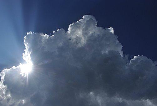 Sky, Cloud, Sun, Stormy, Rays, Light, Backlight