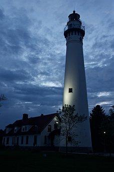 Lighthouse, Night, Clouds, Sky, Evening, Building