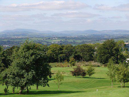 Golf Course, Lee Valley, Ireland, Wide, Hill, Nature