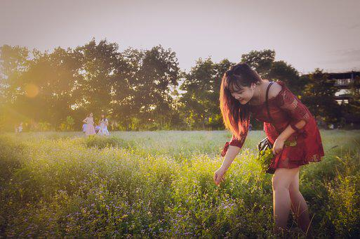 Girl, Beautiful, Picking Flowers, Catch The Butterfly