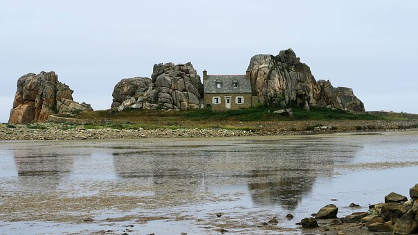 Plougescan, Castel, Mn, Brittany, Sea, Rock House