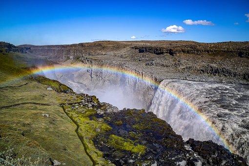 Waterfall, Rainbow, Water, Landscape, Nature, Spray