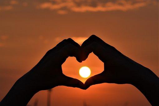 Sunset, Heart, Hands, Love, Romantic, Symbol