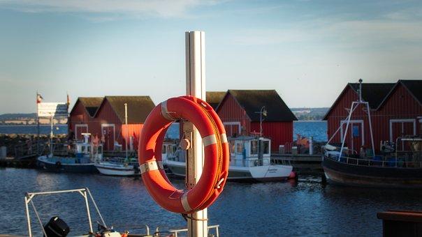 Lifebelt, Port, Hut, Water, Sea, Fishing Port, Boats