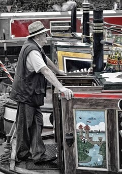 Barge, Canal, Man, Boat, People, Transportation