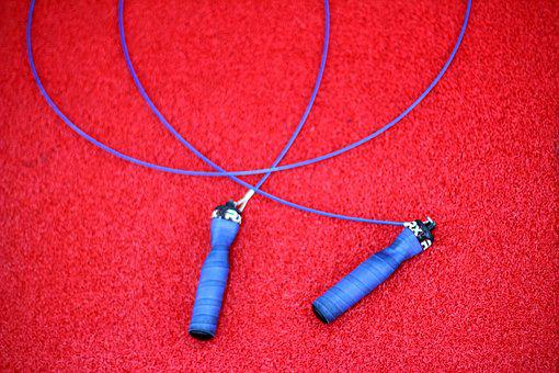 Skipping Rope, Handle, Blue, Carpet Red