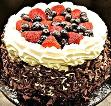 Chocolate Layer Cake, Chocolate Shavings, Strawberries