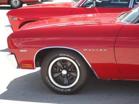 Classic Car, Malibu, Red, Car, Vintage, Retro, Vehicle