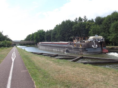 Marne Rhine Canal, Cycle Path, Barge, Bridge, Landscape