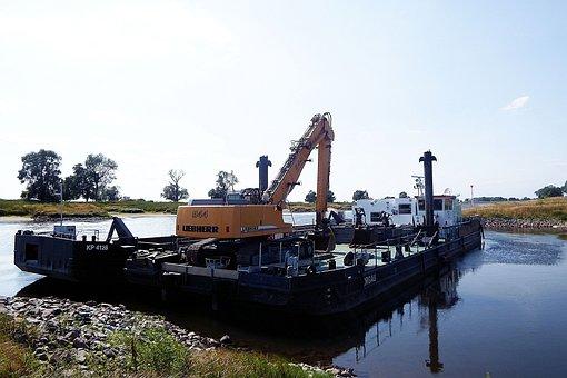 Excavators, Barges, River, Barge, Dredge The Riverbed