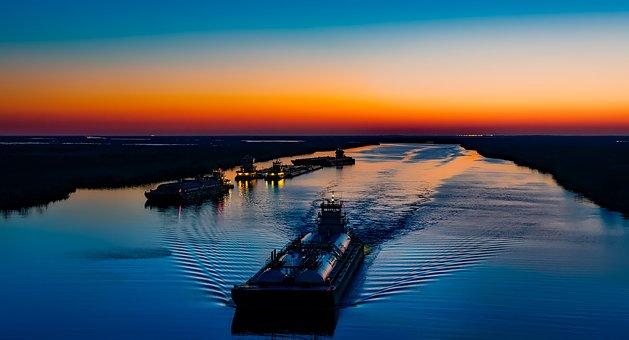 Sunset, Twilight, Dusk, Evening, Ships, Boats, Barges