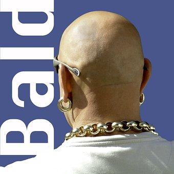 Bald, Man, Macho, Earring, Gold, Necklace, Heavy, Back