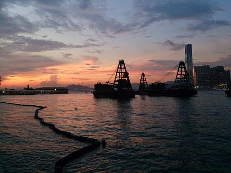 Hong Kong, Victoria Harbour, Sunset, Barges, Wall Paper