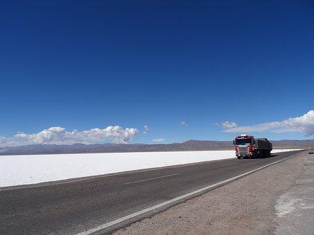Salt Mines, Desert, Truck, Landscape, Salt, Argentina