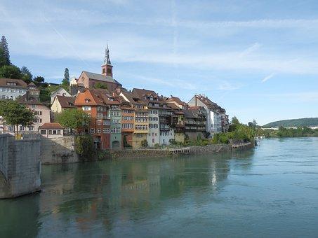 Laufenburg, Rhine, Row Of Houses, Aargau, Switzerland