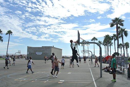 Venice Beach, Basketball, Hoops, Shoot, Leap