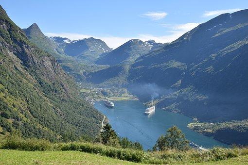 Norway, Fjord, Nature, Liner, Geiranger